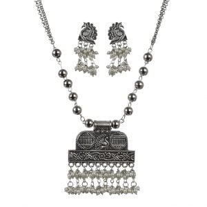 Oxidised Silver Pearl Beads Necklace Earrings Set Main Image