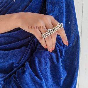 Oxidised Silver Quirky Nakhrewali Boho Statement Ring – Adjustable Lifestyle Image