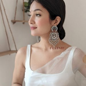 Oxidised Silver Studded Hanging Earrings Lifestyle Image