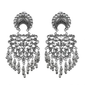 Oxidised Silver Studded Hanging Earrings Main Image