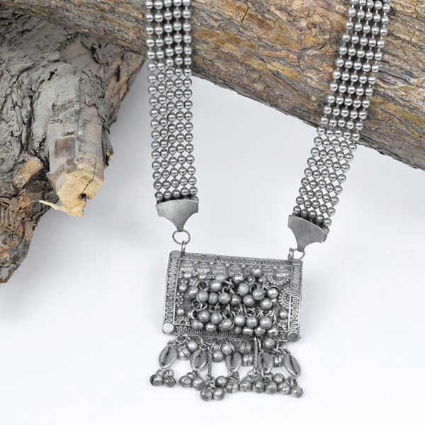 Private: Oxidised Silver Tribal Long Necklace On Wooden Log