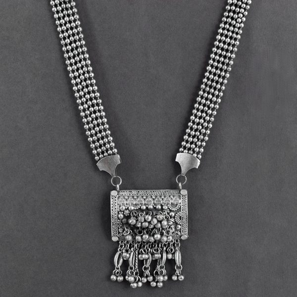 Private: Oxidised Silver Tribal Long Necklace On Black Background