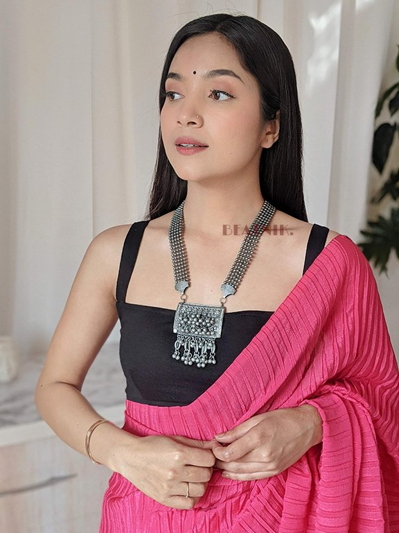Oxidised Silver Tribal Long Necklace Lifestyle Image