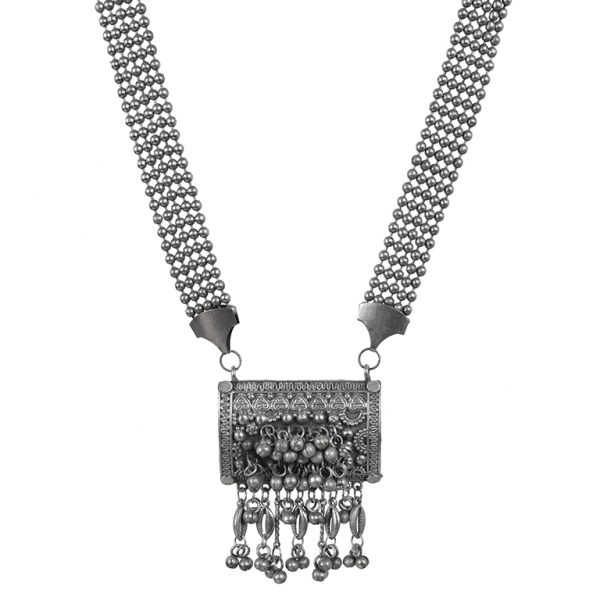 Private: Oxidised Silver Tribal Long Necklace Main Image