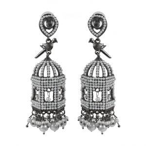 Pearl Embellished Black Metal Jhumka Earrings - Pinjara Main Image