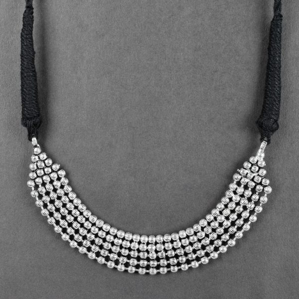 Silver Lookalike Oxidised Plated Brass Choker Necklace On Black Background