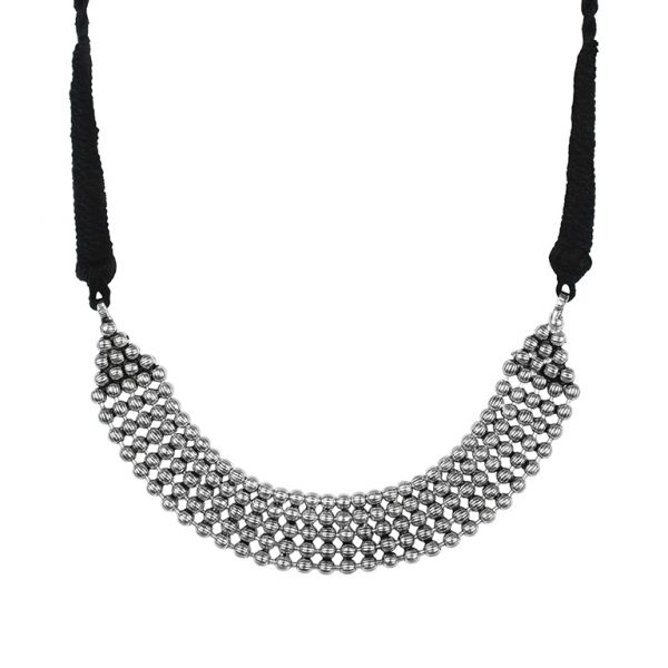 Silver Lookalike Oxidised Plated Brass Choker Necklace Main Image