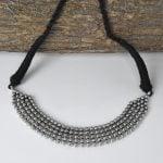 Silver Lookalike Oxidised Plated Brass Choker Necklace