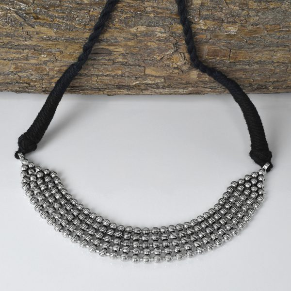 Silver Lookalike Oxidised Plated Brass Choker Necklace On Wooden Log