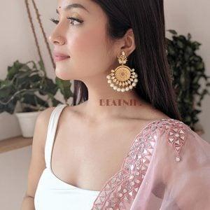 Traditional Kundan Pearl Beads Hanging Earrings Lifestyle Image