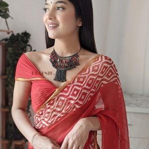 Boho Afghani Oxidised Silver Red Choker Hasli Necklace Lifestyle Image