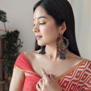 Boho Afghani Oxidised Silver Red Hanging Earrings Lifestyle Image