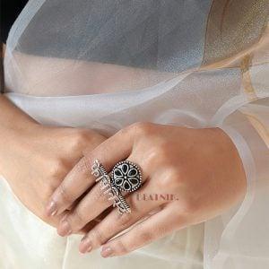 Boho Oxidised Silver Feminist Statement Ring – Adjustable Lifestyle Image