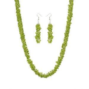 Ethnic Mogra Beads Green Choker Necklace Earrings Set Main Image