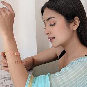 Gold Matte Adjustable Druzy Stone Cuff Bangle – Blush Pink Lifestyle Image