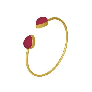 Gold Matte Adjustable Druzy Stone Cuff Bangle – Fuchsia Pink Main Image