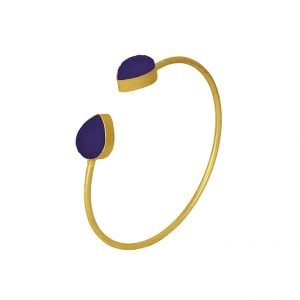Gold Matte Adjustable Druzy Stone Cuff Bangle – Midnight Blue Main Image