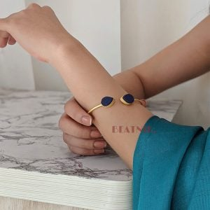 Gold Matte Adjustable Druzy Stone Cuff Bangle – Midnight Blue Lifestyle Image