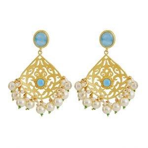 Gold Matte Blue Stone Chandbali Earrings Main Image