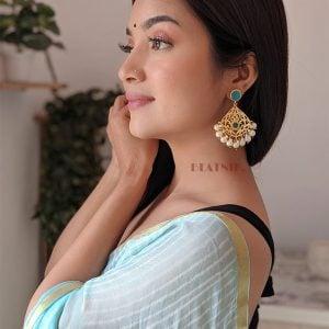 Gold Matte Blue Stone Chandbali Earrings Lifestyle Image