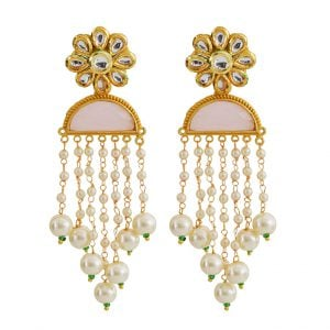 Gold Matte Kundan Pearl Beads Dangling Ethnic Earrings Main Image