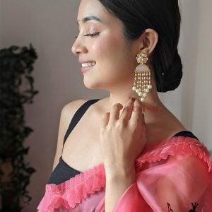 Gold Matte Kundan Pearl Beads Dangling Ethnic Earrings Lifestyle Image