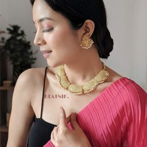 Gold Matte Plated Filigree Pearl Beads Choker Necklace Earrings Set Lifestyle Image