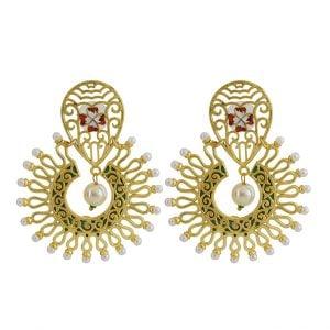 Gold Matte Plated Meenakari Filigree Statement Hanging Earrings Main Image