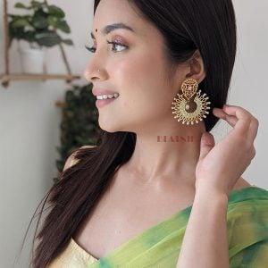 Gold Matte Plated Meenakari Filigree Statement Hanging Earrings Lifestyle Image