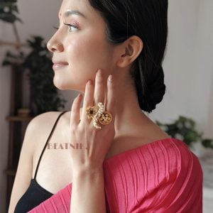 Gold Matte Plated Stylish Cocktail Statement Ring – Adjustable Lifestyle Image