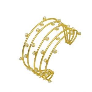 Gold Matte Plated Stylish Statement Cuff Bangle – Adjustable Main Image
