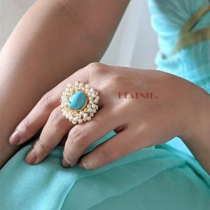Gold Matte Turquoise Stone Statement Pearl Ring – Adjustable Lifestyle Image