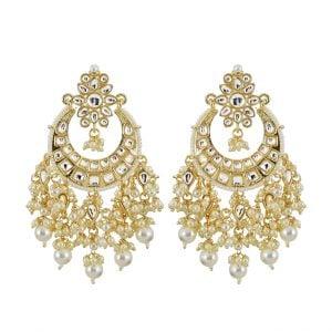 Gold Plated Traditional Kundan Pearl Beads Chandbali Earrings Main Image