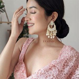 Gold Plated Traditional Kundan Pearl Beads Chandbali Earrings Lifestyle Image
