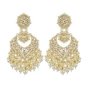 Gold Plated Traditional Kundan Pearl Beads Drop Earrings Main Image