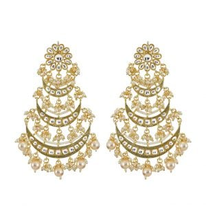 Gold Plated Traditional Pearl Kundan Beads Statement Hanging Earrings Main Image