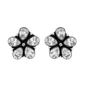 Handcrafted Oxidised Silver Zirconia Stone Stud Earrings Main Image