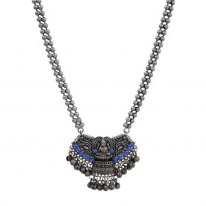Handcrafted Silver Lookalike Oxidised Brass Goddess Long Necklace Main Image