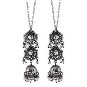 Layered Lightweight Traditional Black Metal Jhumka Earrings Main Image