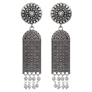 Oxidised Brass Silver Lookalike Hanging Dangler Earrings Main Image