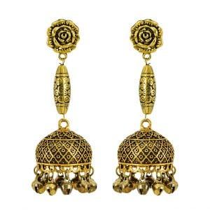 Oxidised Copper Plated Simple Ethnic Jhumki Earrings Main Image