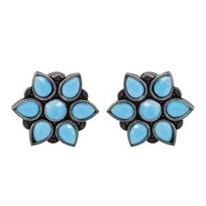 Oxidised Silver Blue Stone Stud Earrings Main Image