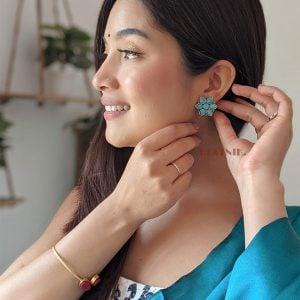 Oxidised Silver Blue Stone Stud Earrings Lifestyle Image