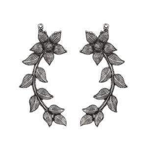 Oxidised Silver Floral Leaf Patterned Earcuff Stud Earrings Main Image