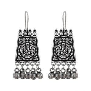 Oxidised Silver Ganesha Elegant Hanging Earrings Main Image