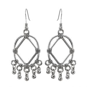 Oxidised Silver Geometric Hanging Earrings Main Image