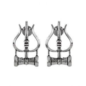 Oxidised Silver Moksha Trishul Motif Stud Earrings Main Image