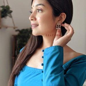Oxidised Silver Moksha Trishul Motif Stud Earrings Lifestyle Image