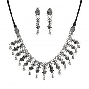 Oxidised Silver Mrigya Elegant Sleek Choker Necklace Earrings Set Main Image