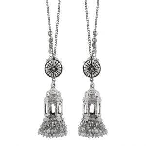Oxidised Silver Pearl Beads Temple Jhumka Earrings Main Image
